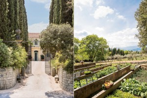 From left: the main entrance of the estate was designed by Dior; thyme, sorrel, and lettuce, among other crops, still grow in the vegetable garden on the south side of the estate.