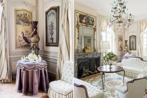 From left: a detail of the Petit salon shows Dior's penchant for swans; the Petit salon, a decorative extension of the Grand salon, features 19th-century antiques and a Murano glass chandelier.